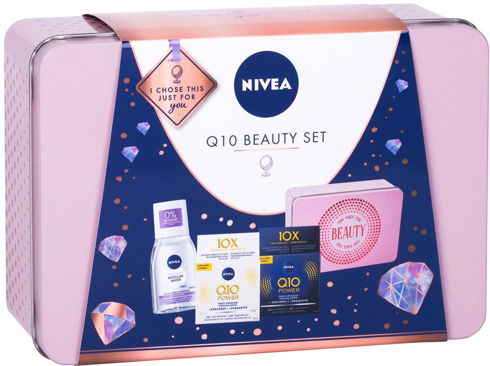 Nivea Q10 Power Anti-Wrinkle + Firming Set: Daily Facial Care SPF15 50ml + Night Facial Care 50ml + MicellAIR 100ml + Tin Box (First Wrinkles - Wrinkles)