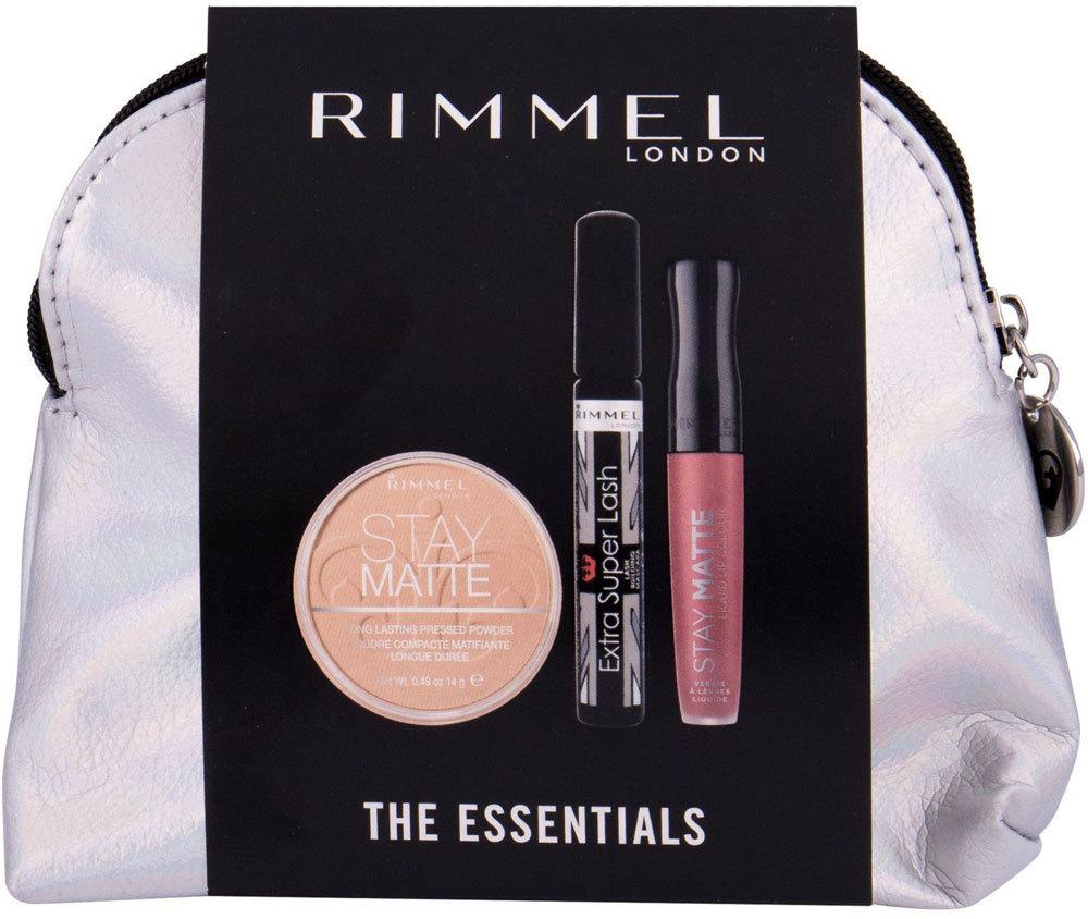 Rimmel London Extra Super Lash Mascara Black 8ml Combo: Mascara Extra Super Lash 8 Ml + Powder Stay Matte 14 G 001 Transparent + Lipstick Stay Matte 5,5 Ml 110 Blush + Cosmetic Bag