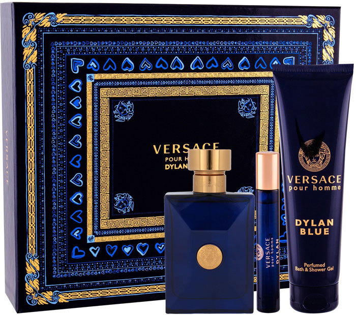 Versace Pour Homme Dylan Blue Eau de Toilette 100ml Combo: Edt 100 Ml + Edt 10 Ml + Shower Gel 150 Ml