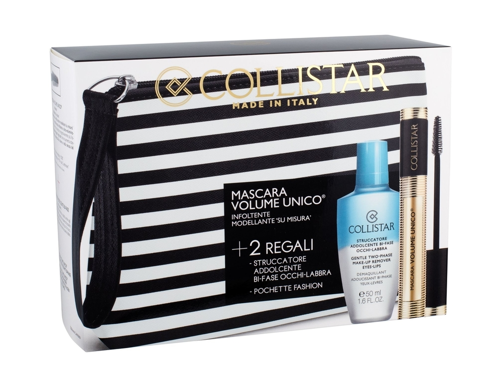 Collistar Volume Unico Mascara 13ml Intense Black Combo: Mascara 13 Ml + Makeup Remover Gentle Two Phase 50 Ml + Cosmetic Bag