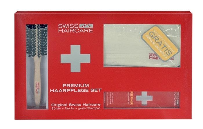 Swiss Haircare Premium Hairbrush 1pc Combo: Round Brush + Bag + 200ml Repair Shampoo