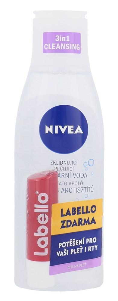 Nivea Sensitive 3in1 Micellar Cleansing Water Micellar Water 200ml Combo: Micellar Water 200 Ml + Lip Care 5,5 Ml Cherry Shine