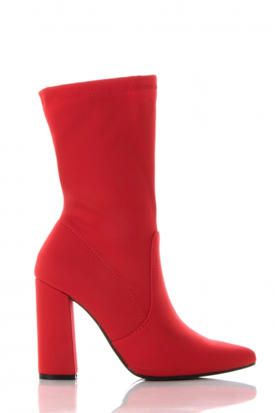 Red Fabric High Heel Ankle Boots