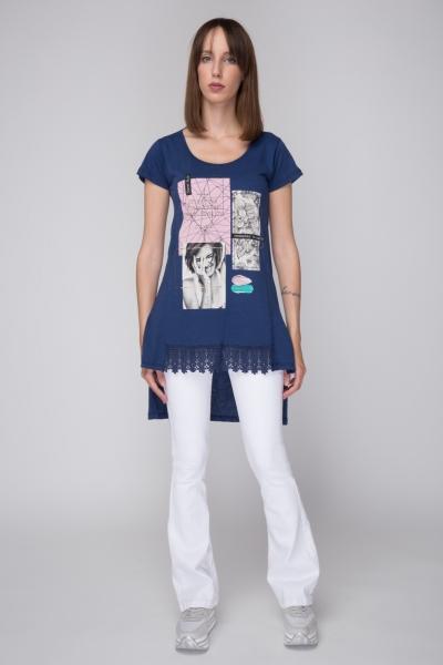 29854035118f Γυναικείο Μακρύ T-Shirt με Δαντέλα και Τύπωμα