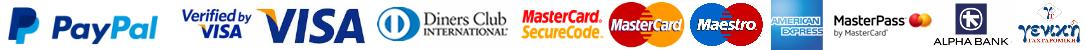 PayPal, Visa, MasterCard, Diners Club, American Express, MasterPass