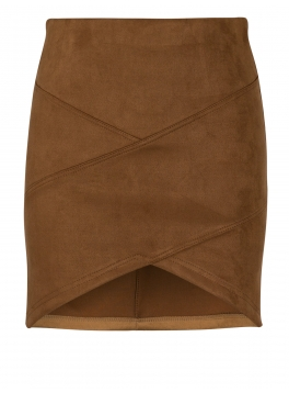 Patchwork Faux Suede Mini Skirt