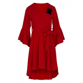 Κόκκινο Ασύμμετρο Φόρεμα με Καρφίτσα
