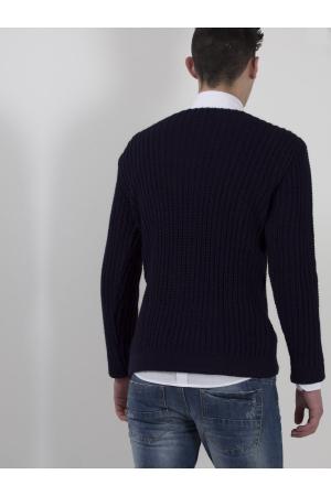 Μονόχρωμη Ανδρική Μπλούζα σε Χοντρή Πλέξη