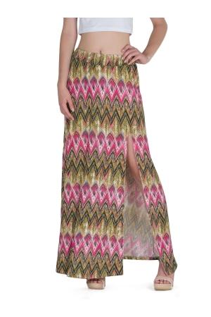 Μάξι Φούστα με Σκίσιμο - Tribal Print