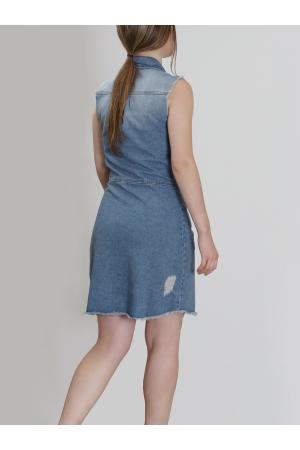 Αμάνικο Τζήν Φόρεμα με Κουμπιά