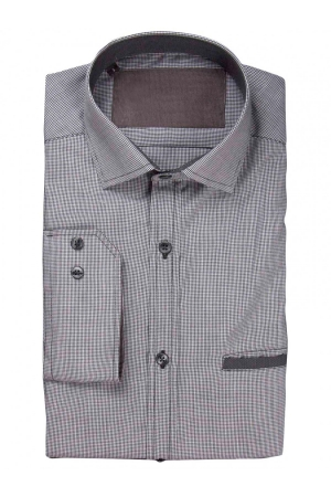 Pie De Poule Mens Shirt With Corduroy Details