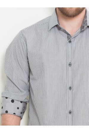 Slim fit long sleeve stripe shirt in grey