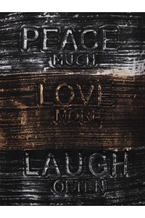 Μπλούζα με Απλικέ Στάμπα Peace Love Laugh