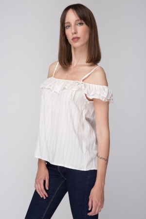 Cold Shoulder Stripped Shirt