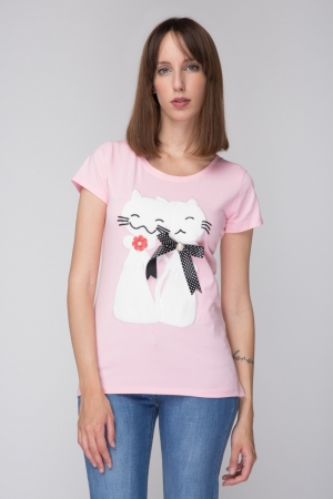 Cats Aplique T-shirt