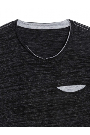 Men's Charcoal V Neck T Shirt