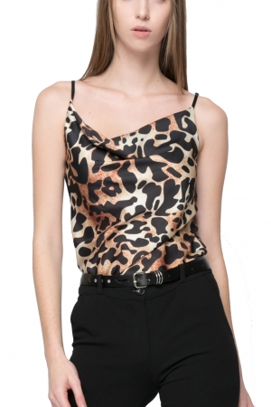 Leopard Print Satin Top