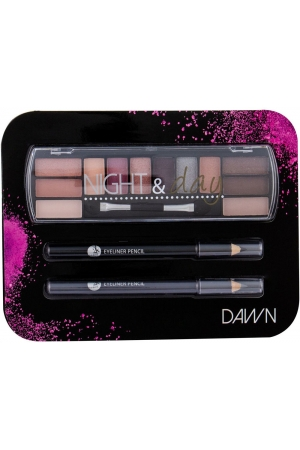 2k Night & Day Eye Shadow Dawn 8,16gr + Eyeliner Pencil 0,6gr Black + Eyeliner Pencil 0,6gr Grey