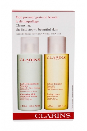 Clarins Cleansing Milk With Alpine Herbs Cleansing Milk 400ml Combo Cleansing Milk 400 Ml + Cleansing Water 400 Ml (Normal - Dry)
