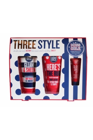 Grace Cole Miss Cole Three Style 100ml For Fresh And Hydrated Skin - Set Shower Gel Gleam Sheen 100ml + Body Lotion Here's The Rub 100ml + Lip Gloss Gloss Over It! 15ml