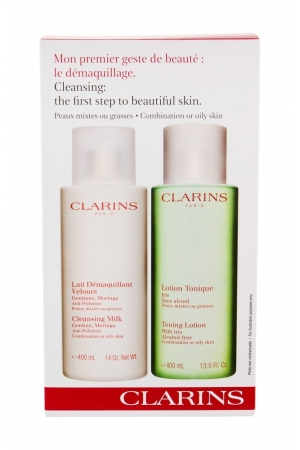 Clarins Cleansing Milk With Gentian Cleansing Milk 400ml Combo Cleansing Milk 400 Ml + Cleansing Water 400 Ml (Oily - Mixed)