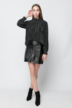 Black Zip PU Mini Skirt