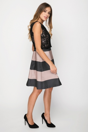 Skater Dress With Lace Top