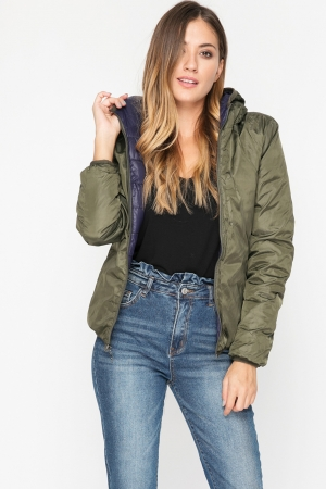 Parka Coat with Faux Fur Trim