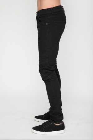 Black Skinny Jean With Biker Knee Detail