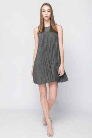 COZY Silver Pleated Dress