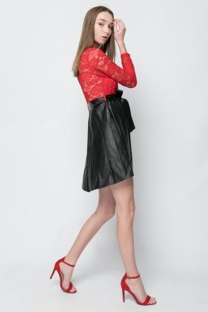 Leather Look Skater Φόρεμα με Δαντέλα