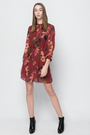 Floral Dress With Sleeves