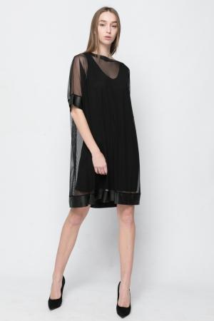 Διπλό Φόρεμα Διαφάνεια Leather Details