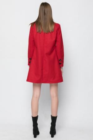 Γυναικείο Παλτό Basic Line - Κόκκινο