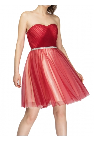 Φόρεμα Στράπλες με Εσάρπα Διακοσμημένο με Στρας
