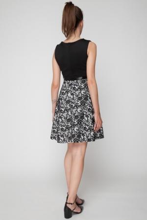 Φόρεμα Skater με Ασπρόμαυρη Φούστα
