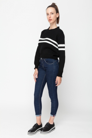 Crew Neck Sweat Shirt with Stripe