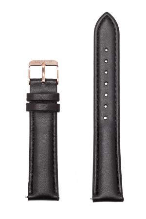 Black Genuine Leather Strap 18mm