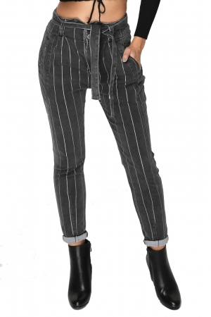 High Waist Stripe Jean In Grey And Silver