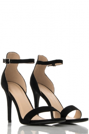 Black Suede High Heel Sandals