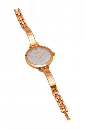 Ρολόι Loftys Elegant με ροζ χρυσό μπρασελέ και ασημί καντράν Y2010-10