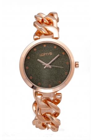 Ρολόι Loftys Elegant με ροζ χρυσό μπρασελέ και γκρι καντράν Y2010-12