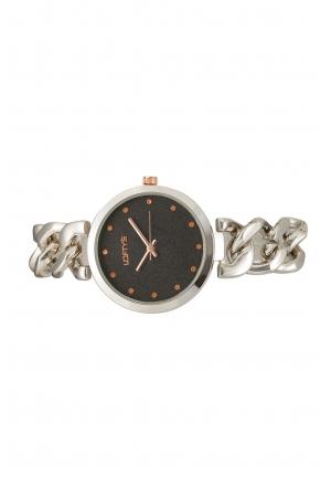 Ρολόι Loftys Elegant με ασημί μπρασελέ και μαύρο καντράν Y2010-13