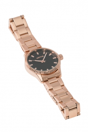 Ρολόι Loftys Mercury με ροζ χρυσό μπρασελέ και μαύρο καντράν Y2013-4