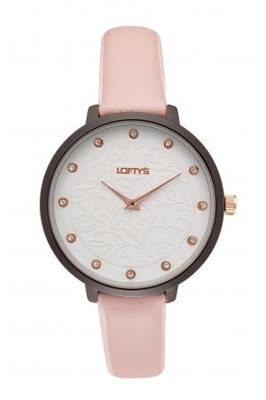 Ρολόι Loftys Rosalinda με ροζ λουράκι και λευκό καντράν Y3410-27