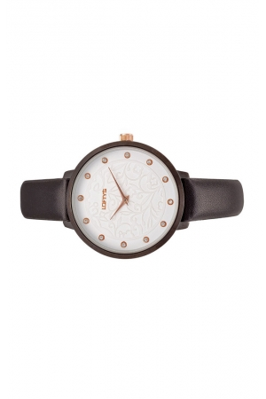 Ρολόι Loftys Rosalinda με μαύρο λουράκι και λευκό καντράν Y3410-25