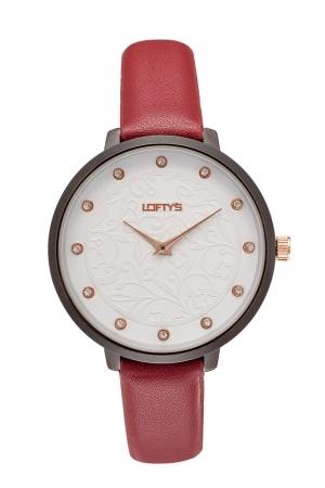 Ρολόι Loftys Rosalinda με κόκκινο λουράκι και λευκό καντράν Y3410-28