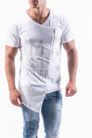 Long Asymetrical T-Shirt with Print