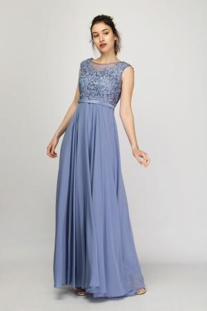 Μάξι Φόρεμα Chiffon με Δαντέλα και Strass
