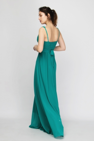 Chiffon V Neck Empellished Maxi Dress
